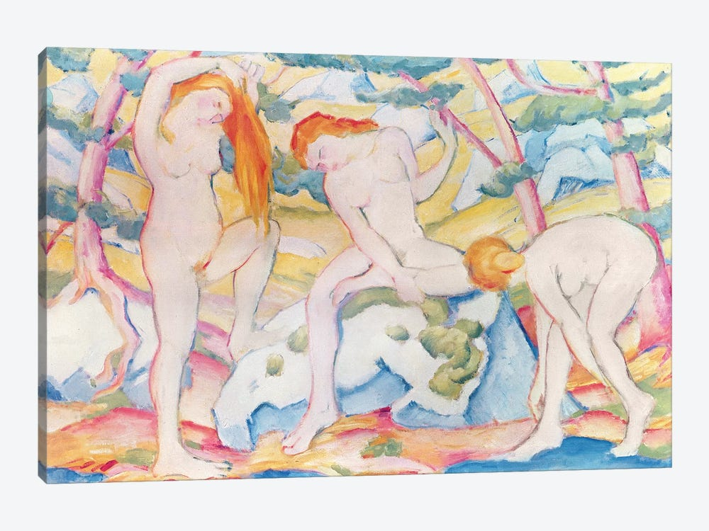 Bathing Girls, 1910  by Franz Marc 1-piece Canvas Artwork