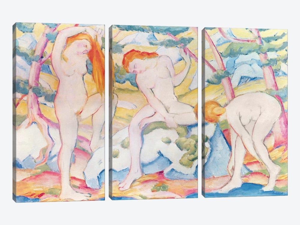 Bathing Girls, 1910  by Franz Marc 3-piece Canvas Art
