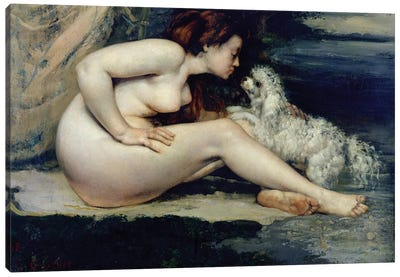 Female Nude with a Dog  Canvas Art Print