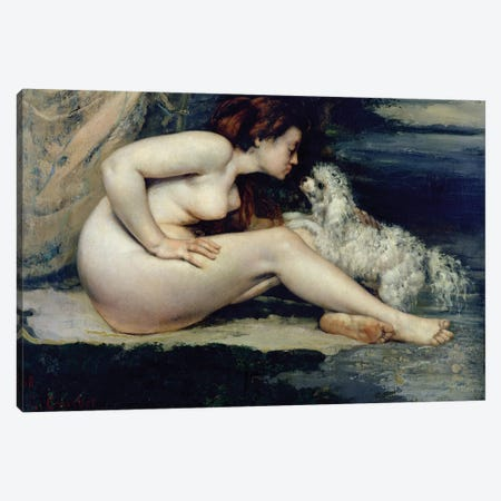 Female Nude with a Dog  Canvas Print #BMN2707} by Gustave Courbet Canvas Artwork