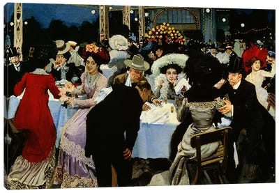 Night Restaurant Canvas Art Print