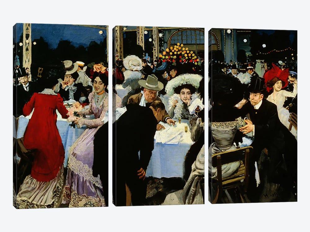 Night Restaurant  by M.G Slepyan 3-piece Canvas Art Print