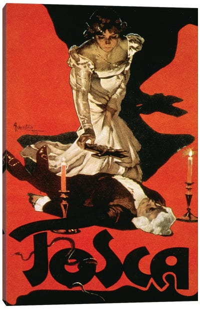Poster advertising a performance of Tosca, 1899  Canvas Art Print