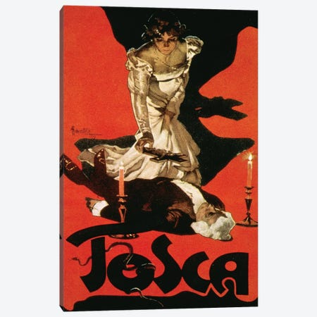 Poster advertising a performance of Tosca, 1899  Canvas Print #BMN2712} by Adolfo Hohenstein Canvas Wall Art