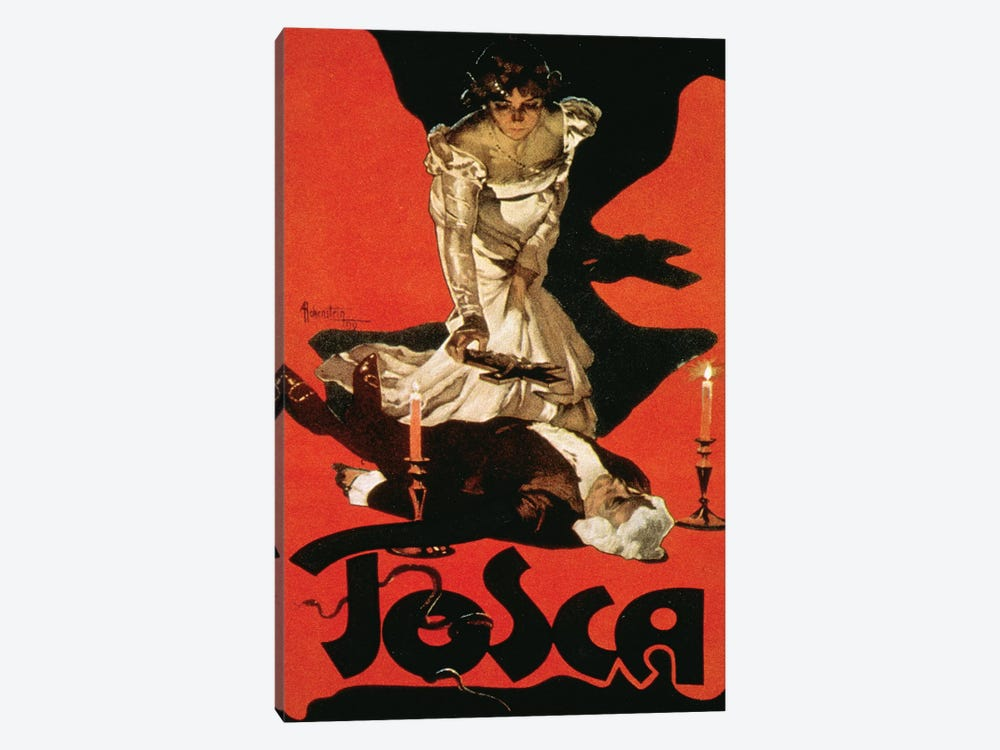 Poster advertising a performance of Tosca, 1899  by Adolfo Hohenstein 1-piece Canvas Art Print