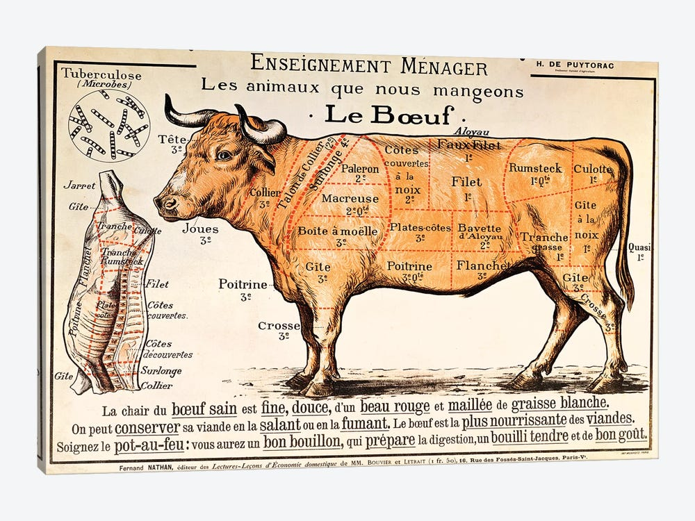 Beef: diagram depicting the different cuts of meat  by French School 1-piece Art Print