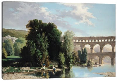 View of the Pont du Gard, 1859 Canvas Art Print