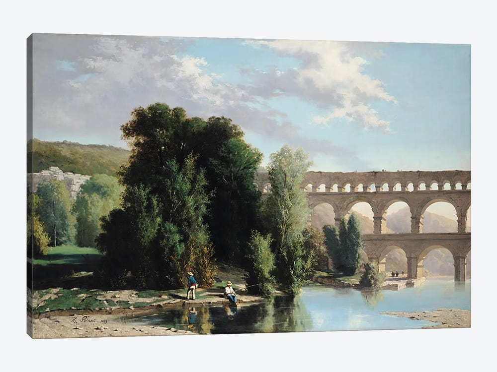 View of the Pont du Gard, 1859  by Henri Marie Poinsot 1-piece Canvas Artwork