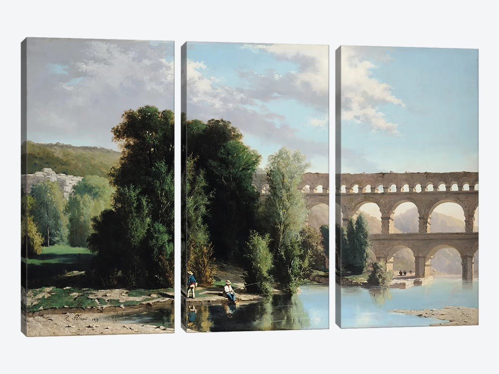View of the Pont du Gard, 1859  by Henri Marie Poinsot 3-piece Canvas Wall Art