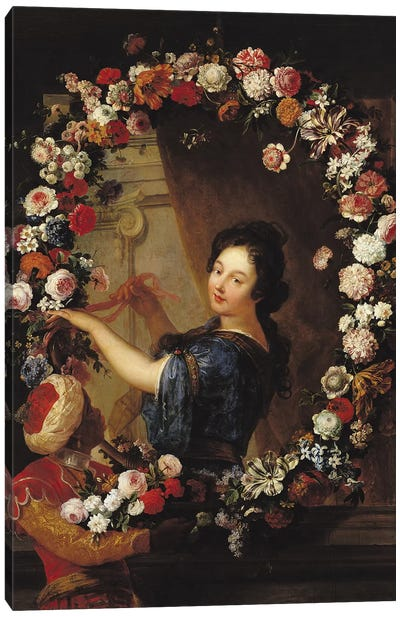 Portrait of a Woman Surrounded by Flowers, presumed to be Julie d'Angennes  Canvas Art Print