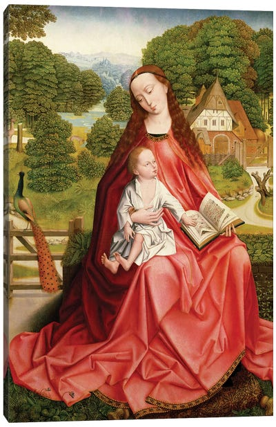Virgin and Child in a Garden  Canvas Art Print
