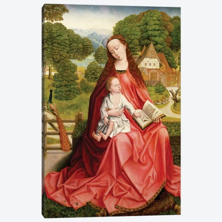 Virgin and Child in a Garden  Canvas Print #BMN2726} by Master of the Embroidered Foliage Canvas Wall Art