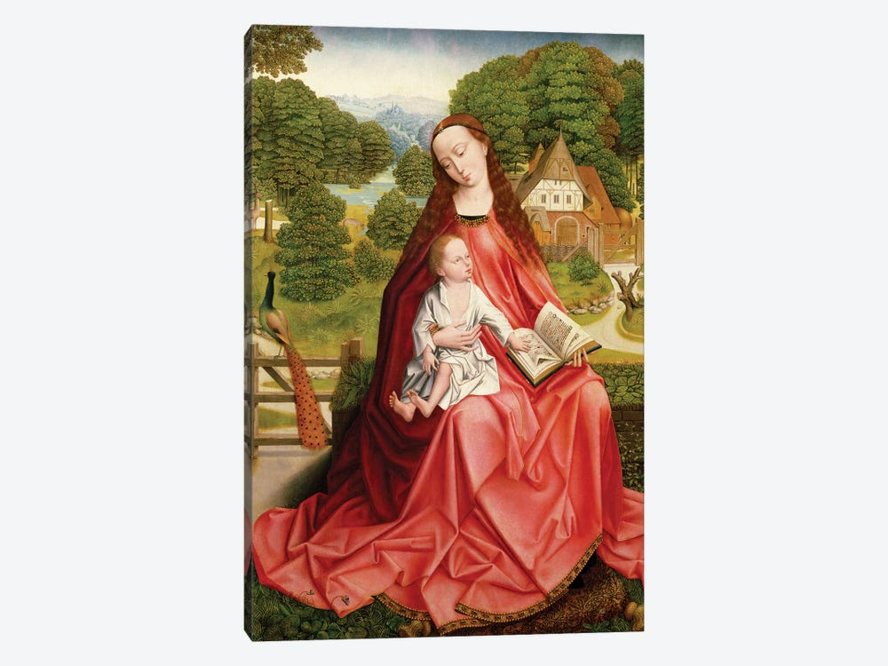 Virgin and Child in a Garden  by Master of the Embroidered Foliage 1-piece Canvas Art