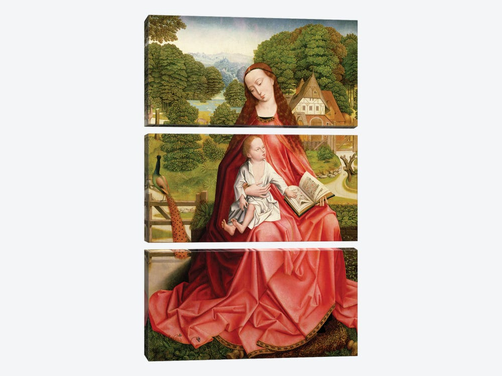 Virgin and Child in a Garden  by Master of the Embroidered Foliage 3-piece Canvas Artwork