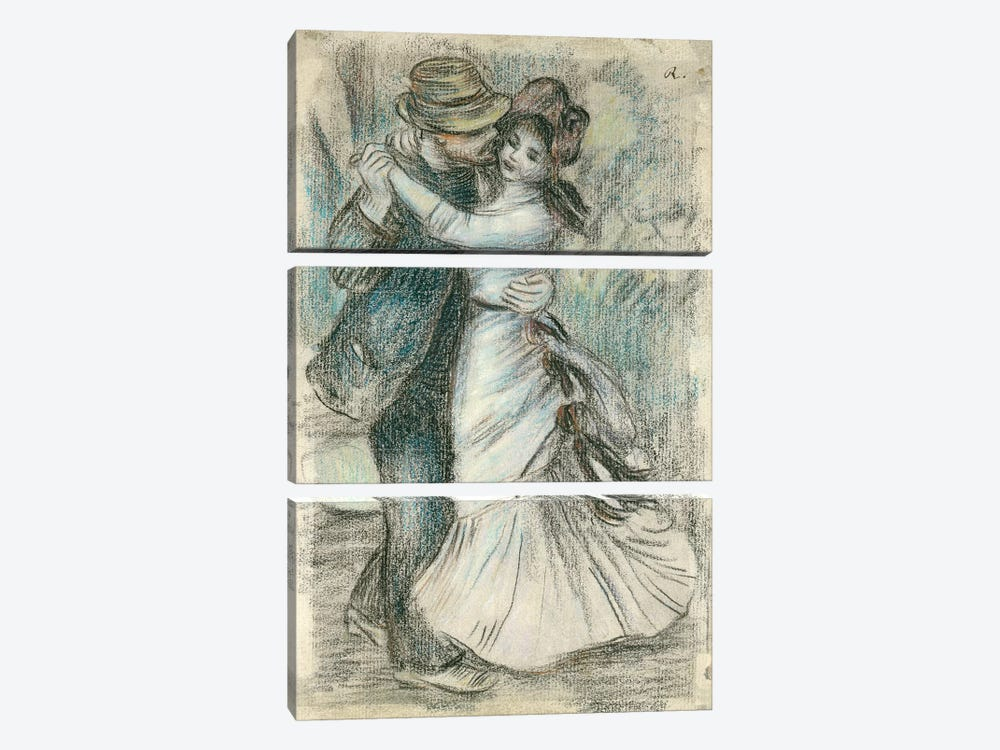 The Dance, 1883 by Pierre-Auguste Renoir 3-piece Canvas Print