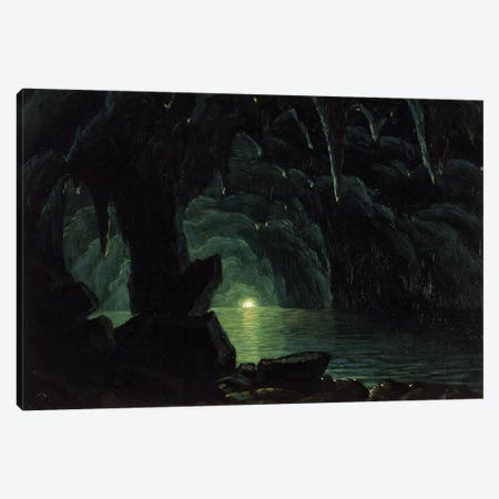 The Blue Grotto, Capri  Canvas Print #BMN2728} by Albert Bierstadt Art Print