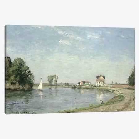 At the River's Edge, 1871  Canvas Print #BMN2729} by Camille Pissarro Canvas Art Print