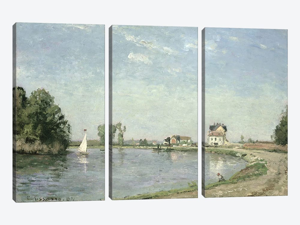 At the River's Edge, 1871 by Camille Pissarro 3-piece Canvas Print