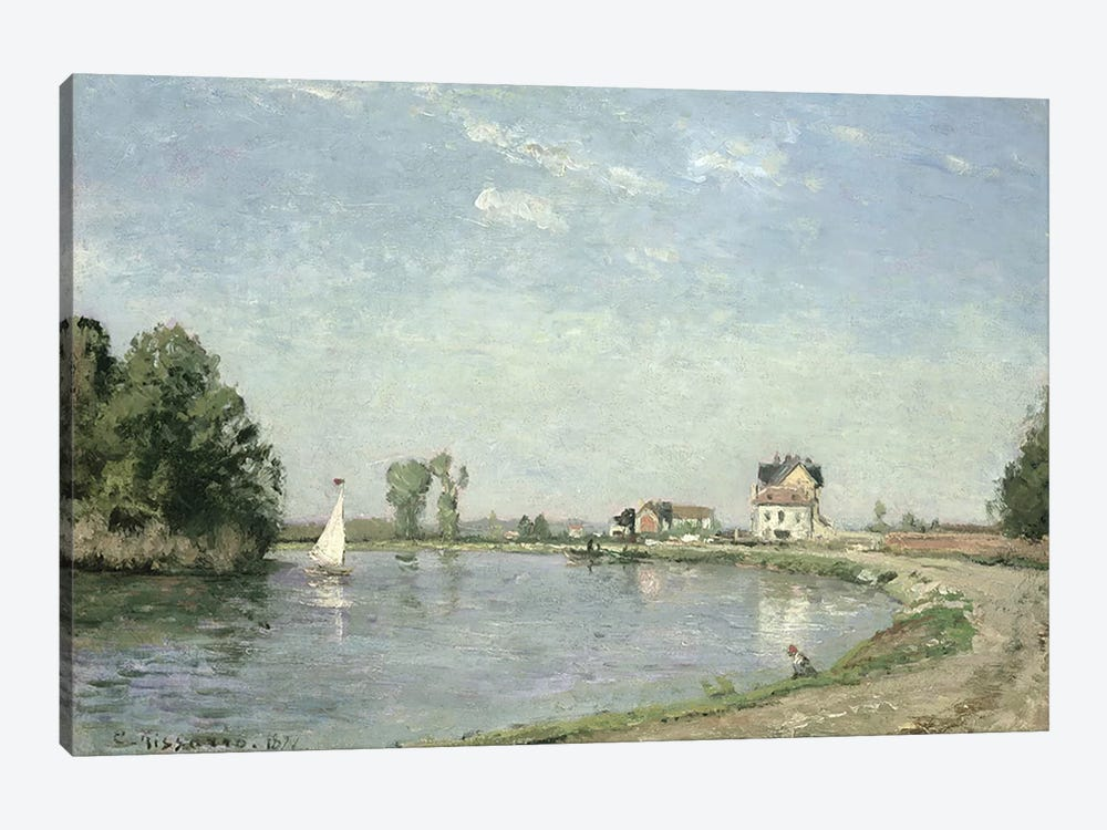 At the River's Edge, 1871  by Camille Pissarro 1-piece Canvas Print