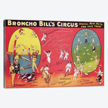Broncho Bill's Circus, Birmingham c.1890-1910  Canvas Print #BMN272} by English School Canvas Print
