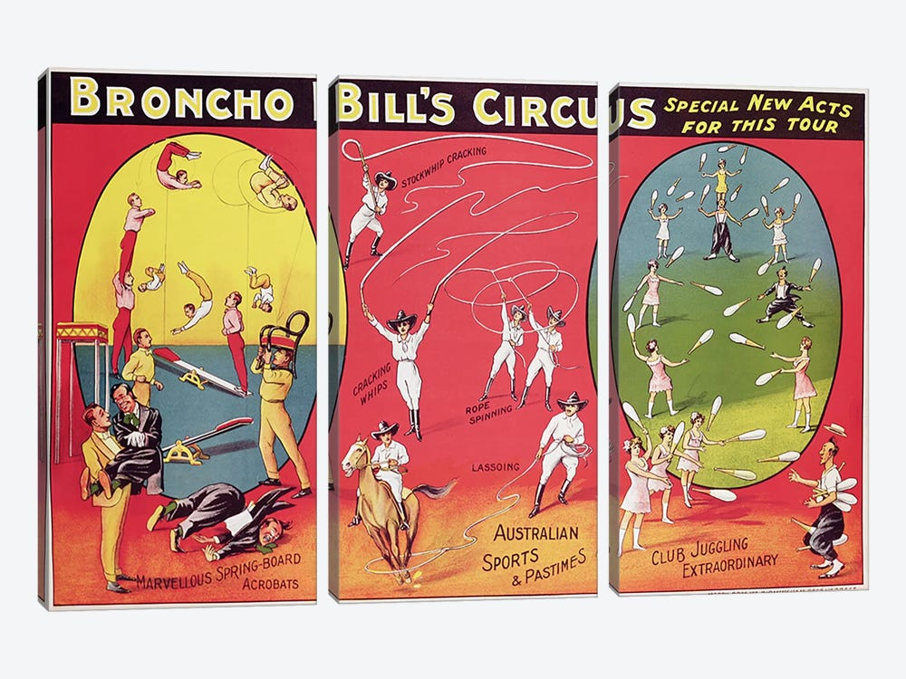 Broncho Bill's Circus, Birmingham c.1890-1910  by English School 3-piece Art Print