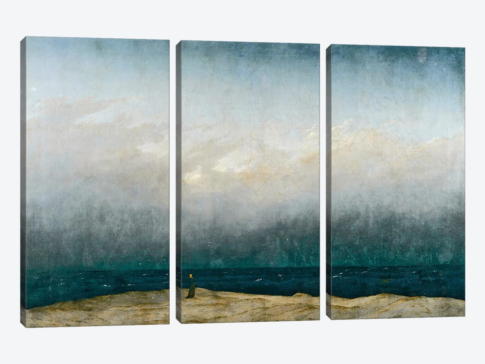Monk by sea, 1809 3-piece Canvas Wall Art