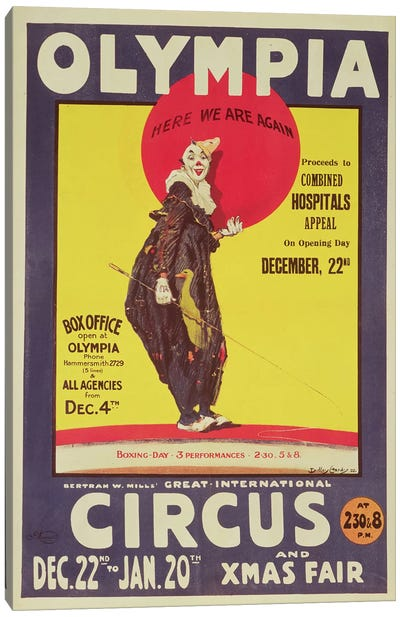 Bertram Mills circus poster, 1922  Canvas Print #BMN273