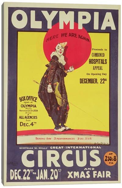 Bertram Mills circus poster, 1922  Canvas Art Print