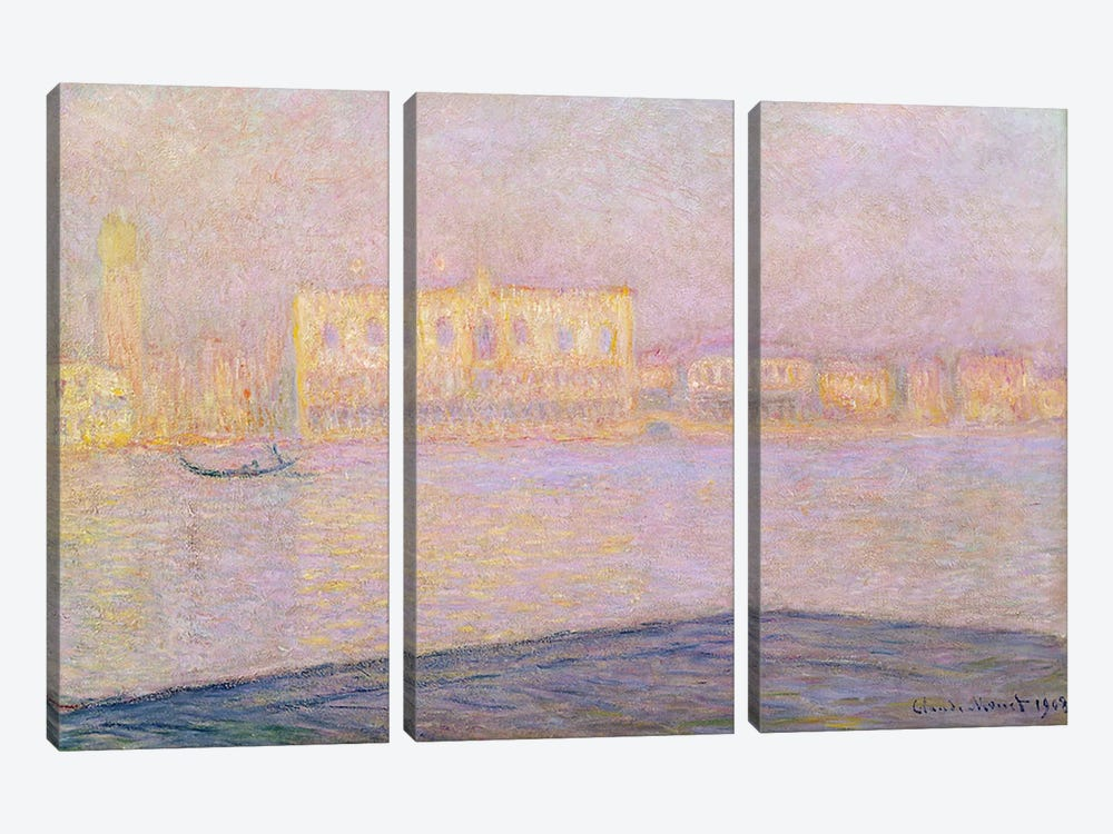 The Ducal Palace from San Giorgio, 1908  by Claude Monet 3-piece Art Print
