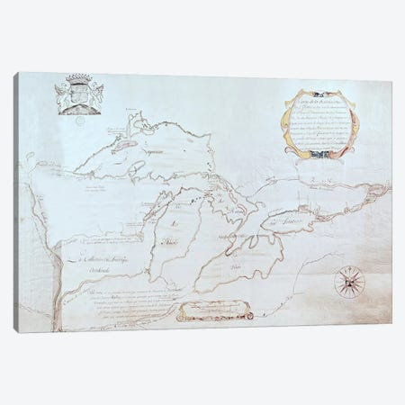 Map of the Great Lakes  Canvas Print #BMN2761} by Jolliet Art Print