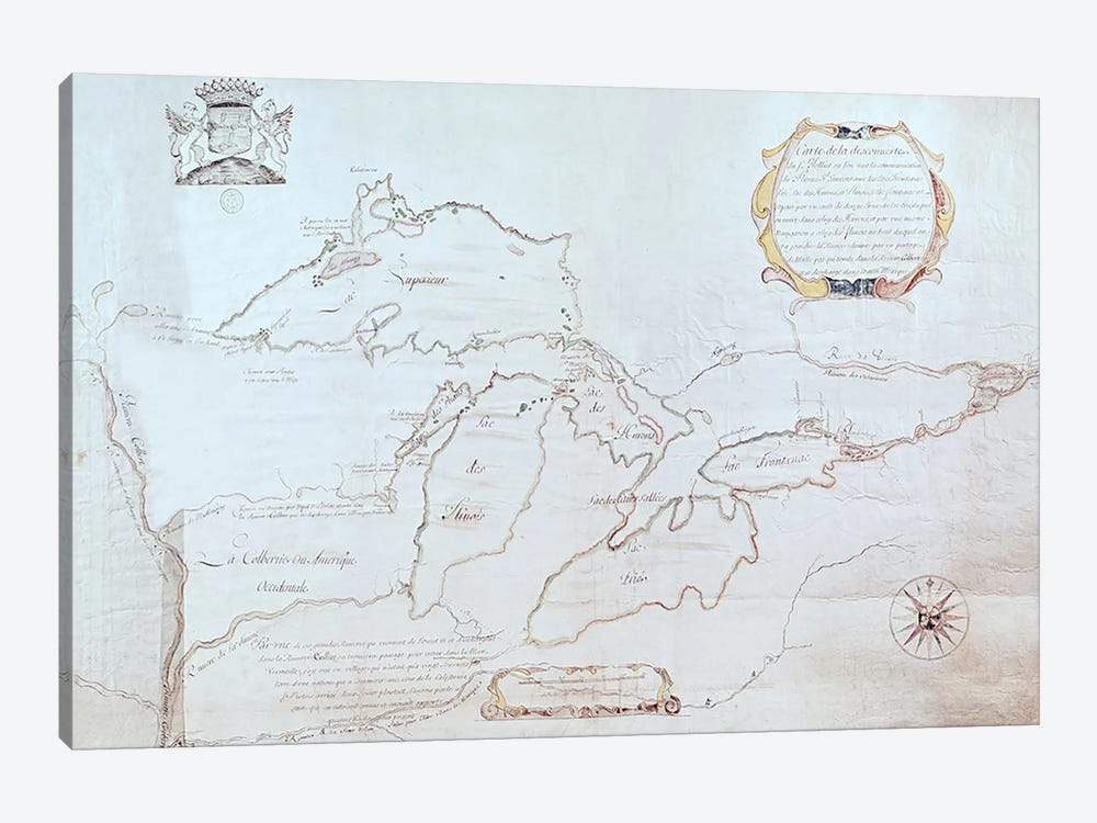 Map of the Great Lakes  by Jolliet 1-piece Art Print