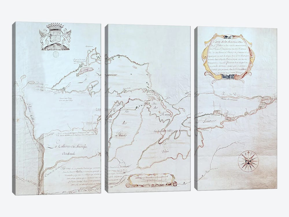 Map of the Great Lakes  by Jolliet 3-piece Canvas Print