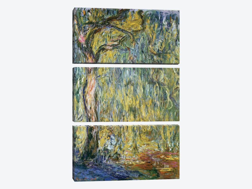 The Large Willow at Giverny, 1918  by Claude Monet 3-piece Canvas Art