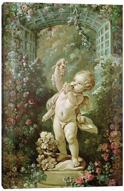 Cupid with Grapes  Canvas Art Print