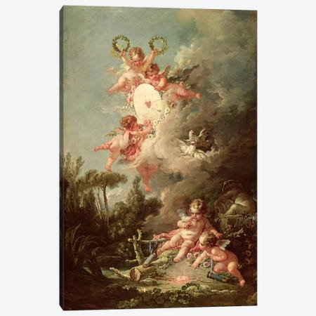 Cupid's Target, from 'Les Amours des Dieux', 1758  Canvas Print #BMN2768} by Francois Boucher Art Print