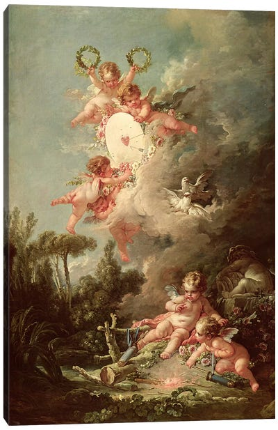 Cupid's Target, from 'Les Amours des Dieux', 1758  Canvas Art Print