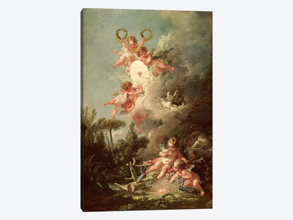 Cupid's Target, from 'Les Amours des Dieux', 1758  by Francois Boucher 1-piece Canvas Wall Art