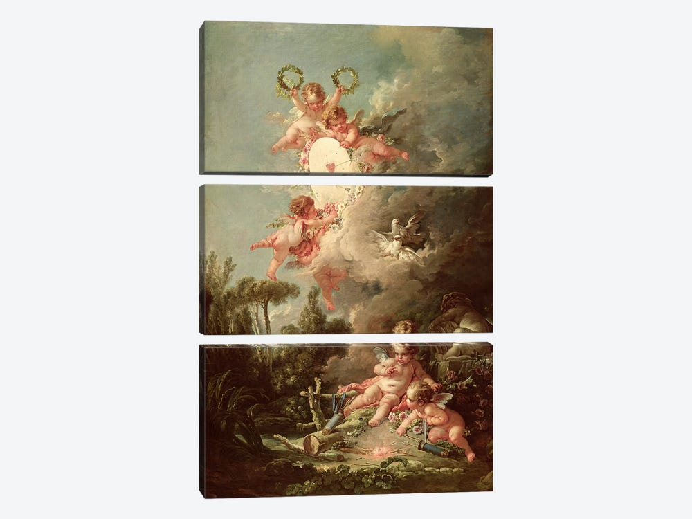 Cupid's Target, from 'Les Amours des Dieux', 1758  by Francois Boucher 3-piece Canvas Art