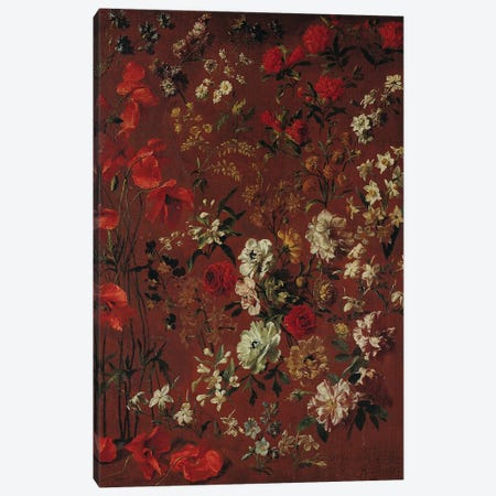 Study of Flowers, 1720  Canvas Print #BMN2773} by Hyacinthe Rigaud Canvas Artwork