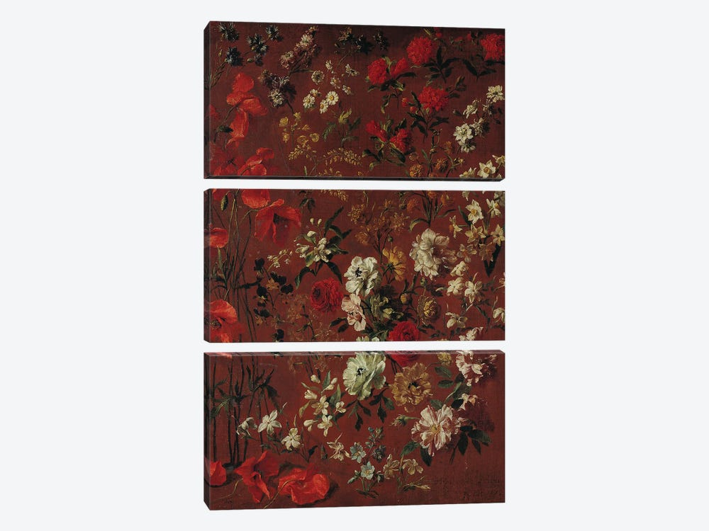 Study of Flowers, 1720  by Hyacinthe Rigaud 3-piece Canvas Art