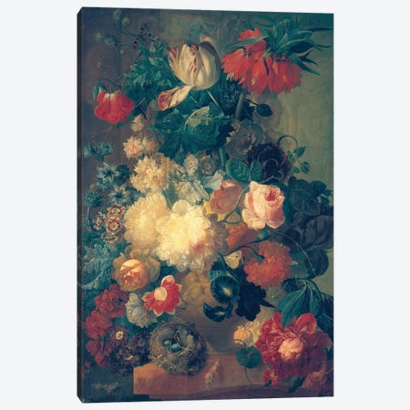 Flowers in a Vase with a Bird's Nest  Canvas Print #BMN2774} by Jan van Os Canvas Print