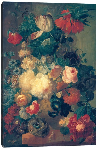 Flowers in a Vase with a Bird's Nest  Canvas Art Print