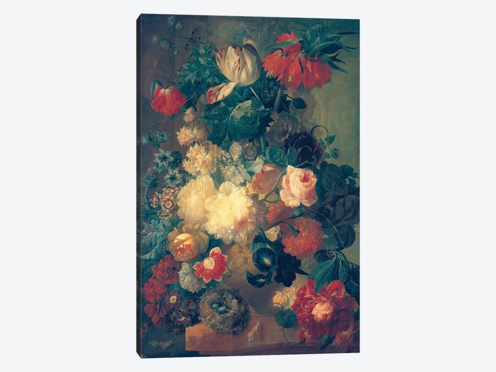 Flowers in a Vase with a Bird's Nest  by Jan van Os 1-piece Canvas Print