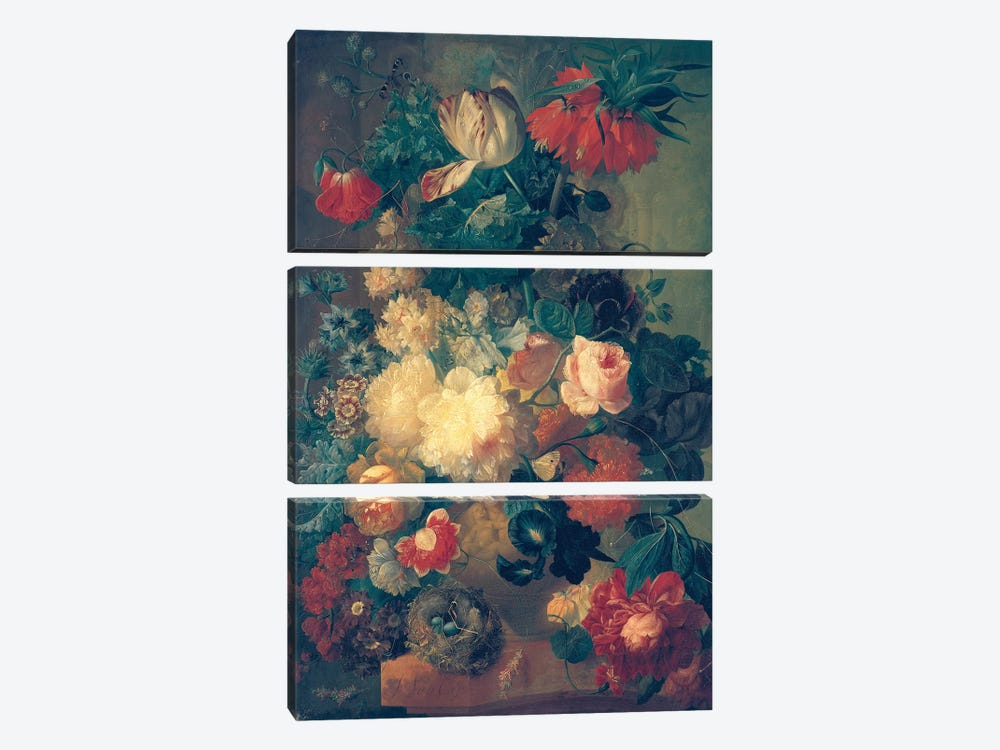Flowers in a Vase with a Bird's Nest  by Jan van Os 3-piece Canvas Print
