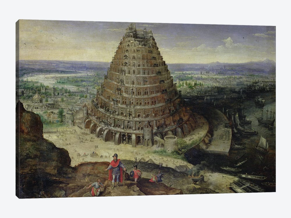 The Tower of Babel, 1594  by Lucas van Valckenborch 1-piece Canvas Artwork