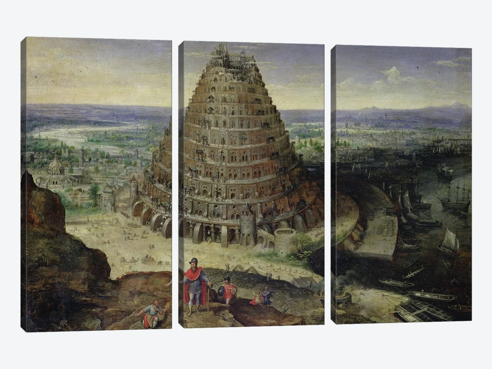 The Tower of Babel, 1594  by Lucas van Valckenborch 3-piece Canvas Wall Art