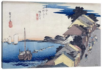 Kanagawa, dai no kei (Kanagawa: View of the Embankment) Canvas Art Print