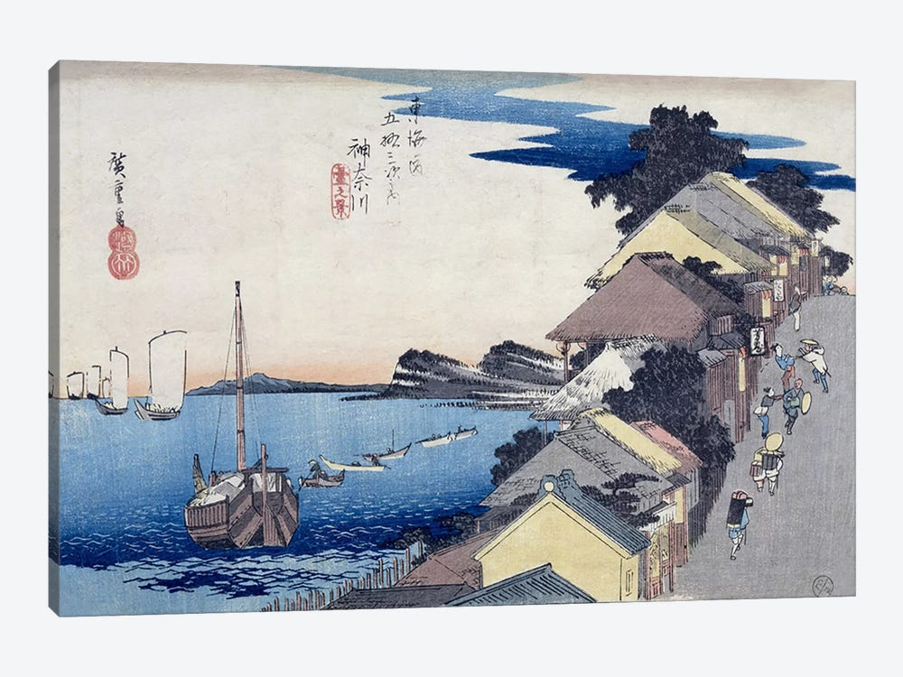 Kanagawa, dai no kei (Kanagawa: View of the Embankment) 1-piece Canvas Art