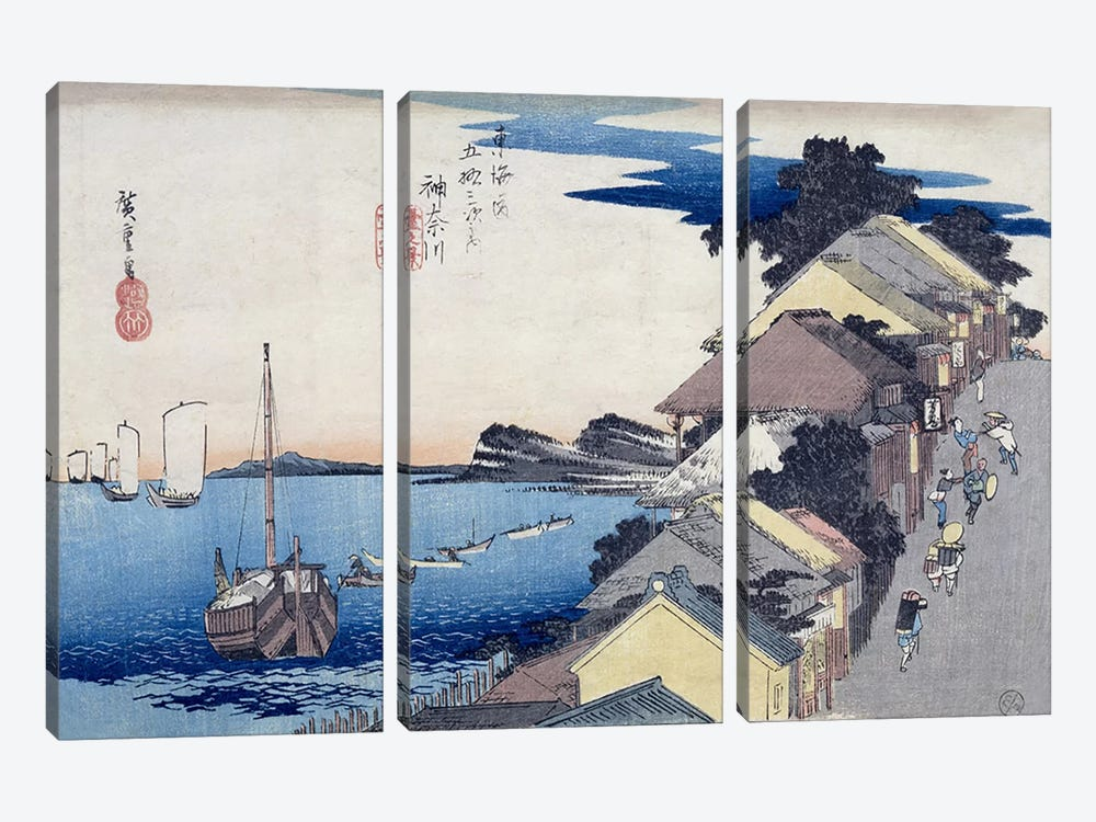 Kanagawa, dai no kei (Kanagawa: View of the Embankment) by Utagawa Hiroshige 3-piece Canvas Art