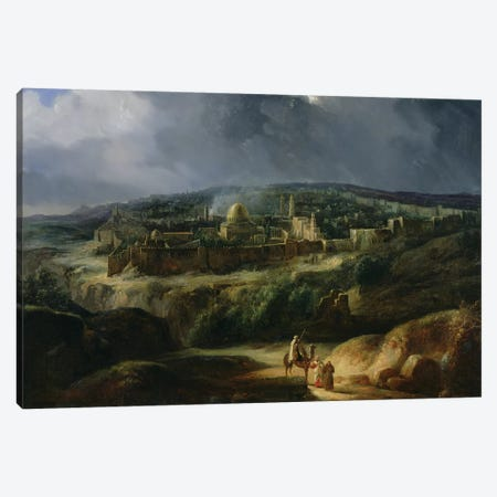 View of Jerusalem from the Valley of Jehoshaphat, 1825  Canvas Print #BMN2778} by Auguste Forbin Canvas Wall Art